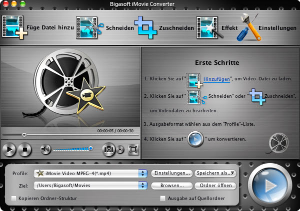 Screenshot of Bigasoft iMovie Converter for Mac