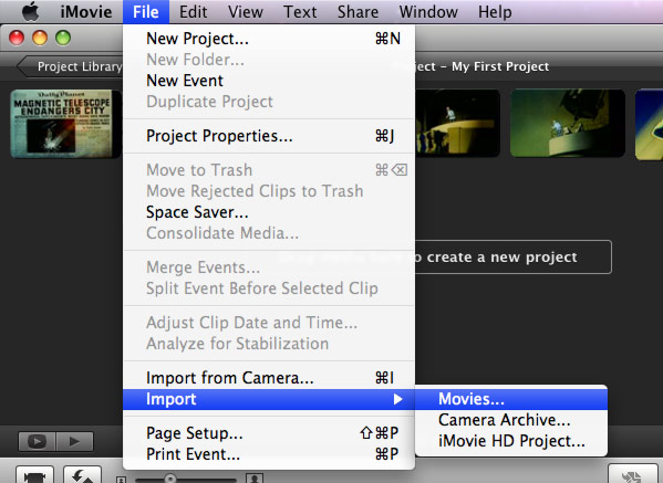 Import M2TS/M2T/MTS to iMovie