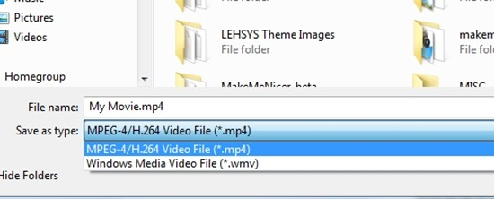 Export WLMP to MP4 or WMV
