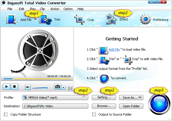 DXA Player - Convert DXA to AVI, MP4, WMV, MOV, MPEG, VOB, MP3