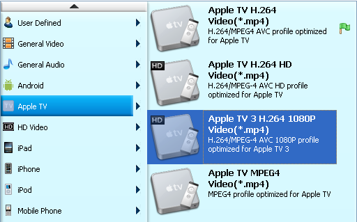 Set Apple TV supported Format