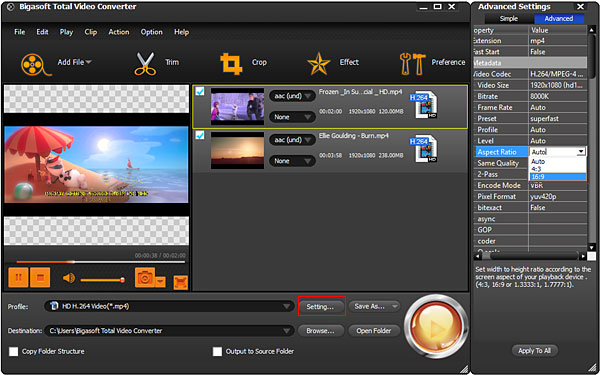 Change Aspect Ratio of Video AVI, MP4, MKV, MPG, VOB, FLV and more