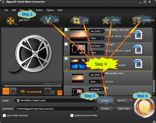 Bik converter convert bik to mp3 avi mp4 mov wmv and more convert bik to mp3 bik to avi bigasoft total video ccuart Choice Image