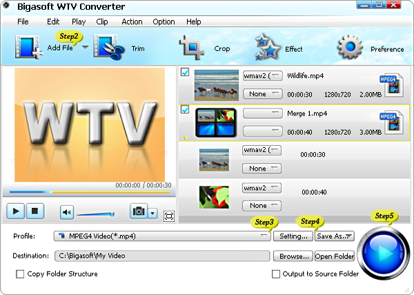Convert WTV to AVI, MP4, MKV, WMV, MPG and MOV on Windows 8 or Mac