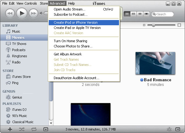 Create iPod or iPhone version, Create iPad or Apple TV version