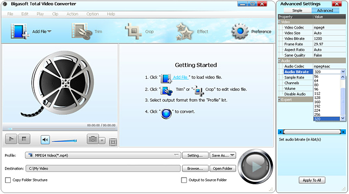 How to Change Bitrate of MP3/WAV/FLAC/ MP4/AVI/MKV/VOB ect.?
