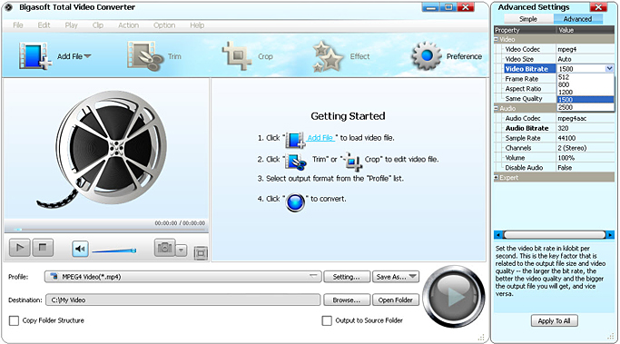 Change Bitrate of MP3/WAV/FLAC/ MP4/AVI/MKV/VOB ect. with Ease