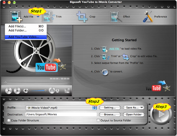 Convert and Import YouTube to iMovie