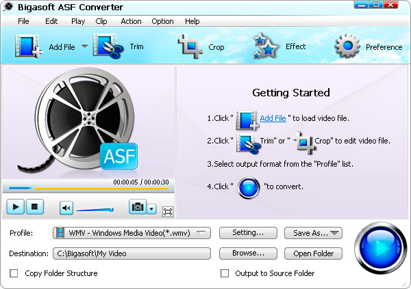 Bigasoft ASF Converter - asf converter, asf video converter, convert to asf, avi to asf, wmv to asf, mpg  - Easily convert all popular movie files to ASF or WMV video and WMA audio format.