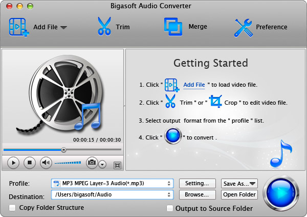 Bigasoft Audio Converter for Mac Screen shot