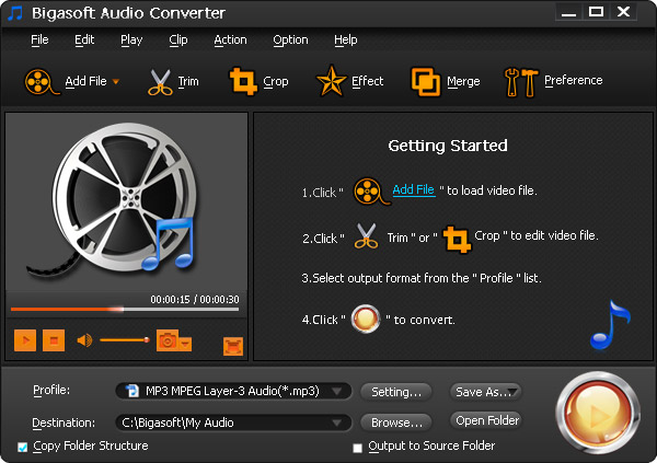 Bigasoft Audio Converter 5.1.3.6446 Screen shot