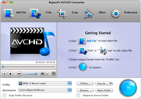 Screenshot of Bigasoft AVCHD Converter for Mac