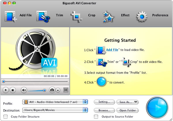 Bigasoft AVI Converter for Mac full screenshot
