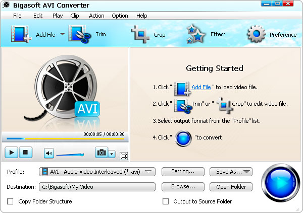 Click to View Full ScreenshotBigasoft AVI Converter 1.7.11.3711 screenshot