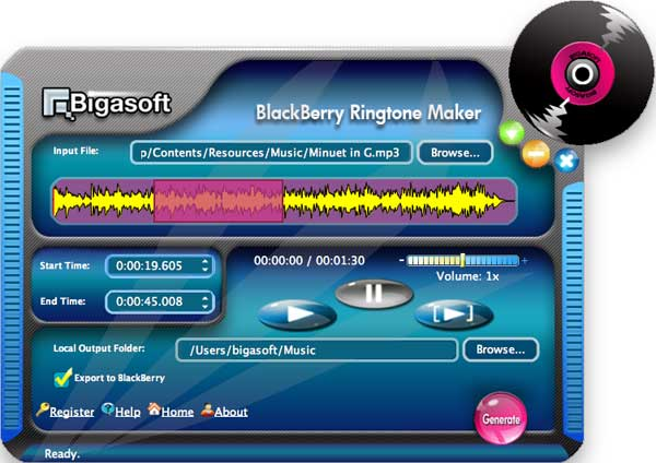 Bigasoft BlackBerry Ringtone Maker for Mac