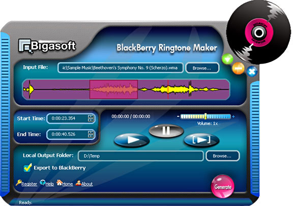 Click to view Bigasoft BlackBerry Ringtone Maker 1.6.3.3546 screenshot