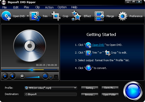 Screenshot of Bigasoft DVD Ripper