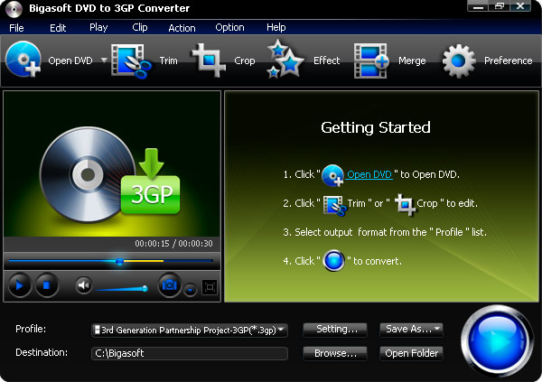 Click to view Bigasoft DVD to 3GP Converter 1.7.7.4203 screenshot