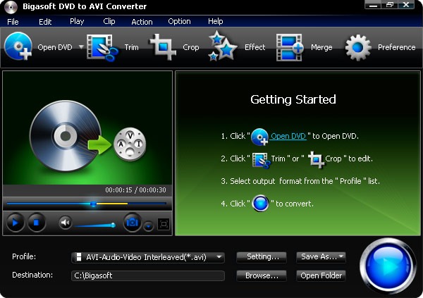Click to view Bigasoft DVD to AVI Converter 1.7.7.4203 screenshot