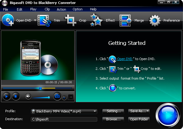 Click to view Bigasoft DVD to BlackBerry Converter 1.7.7.4203 screenshot