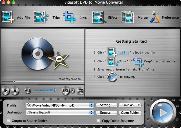 Screenshot of Bigasoft DVD to iMovie Converter for Mac