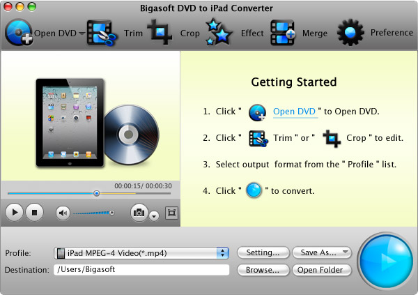 Bigasoft DVD to iPad Converter for Mac - mac dvd to ipad, mac dvd ripper to ipad, mac dvd ipad converter, dvd to ipad for mac, dvd to ipad on mac, convert mac dvd for ipad - Convert DVD to iPad MP4, H.264 on Mac for taking all High-definition DVD movies.
