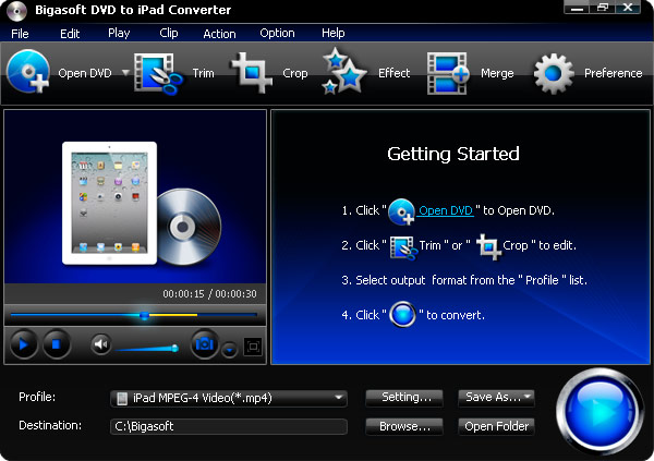 Click to view Bigasoft DVD to iPad Converter 1.7.8.4224 screenshot