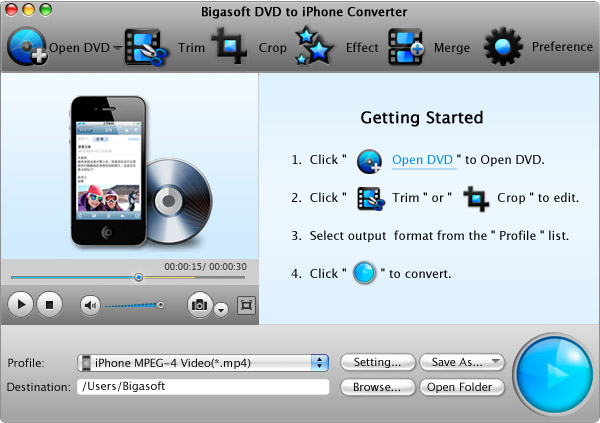 Screenshot of Bigasoft DVD to iPhone Converter for Mac