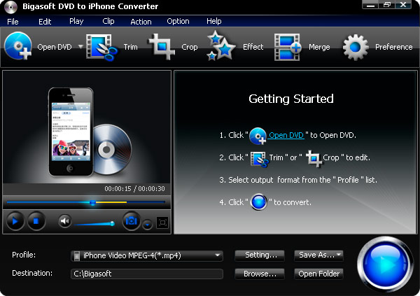 Bigasoft DVD to iPhone Converter Screen shot
