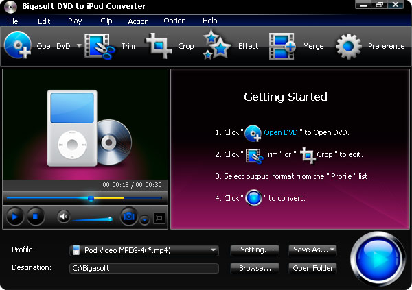 Click to view Bigasoft DVD to iPod Converter screenshots