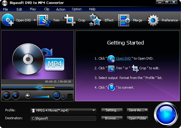 Click to view Bigasoft DVD to MP4 Converter 1.7.7.4203 screenshot