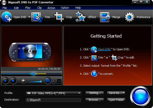 Screenshot of Bigasoft DVD to PSP Converter