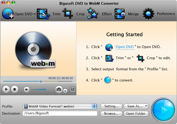 Screenshot of Bigasoft DVD to WebM Converter for Mac