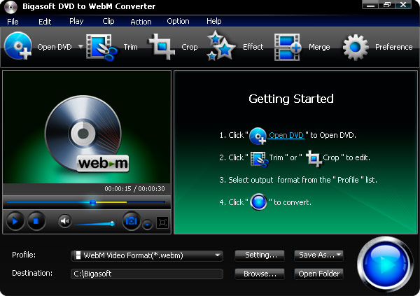 Screenshot of Bigasoft DVD to WebM Converter