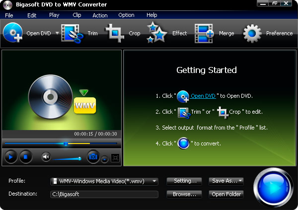 Bigasoft DVD to WMV Converter Screenshot