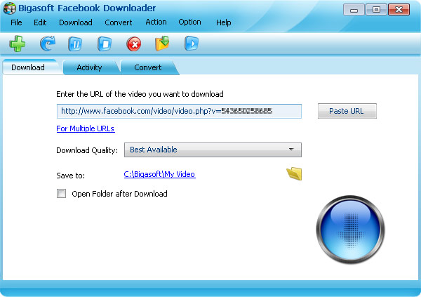 Screenshot of Bigasoft Facebook Downloader