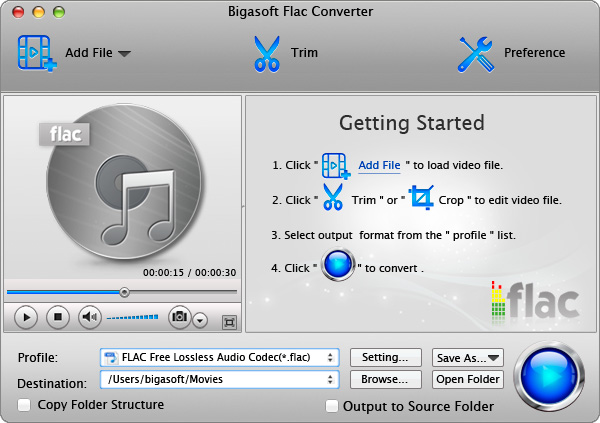 Bigasoft FLAC Converter for Mac screenshot