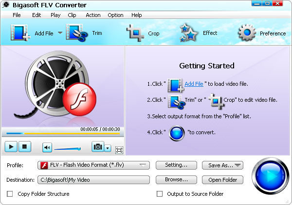 Screenshot of Bigasoft FLV Converter