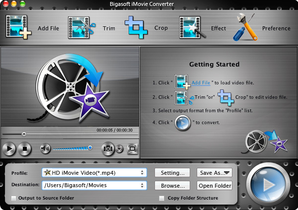 The powerful MOV to iMovie converter - Bigasoft iMovie Converter