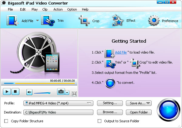 Click to view Bigasoft iPad Video Converter screenshots