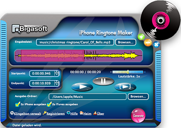 Screenshot von Bigasoft iPhone Ringtone Maker for Mac