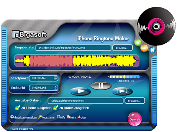 Screenshot von Bigasoft iPhone Ringtone Maker