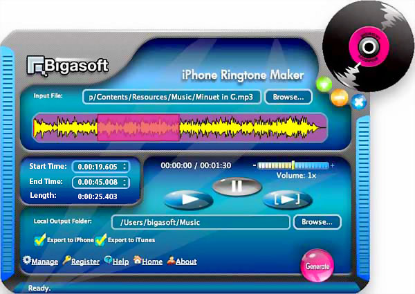 This is the main window of Bigasoft iPhone Ringtone Maker