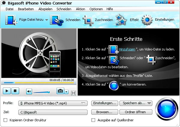 Screenshot von Bigasoft iPhone Video Converter