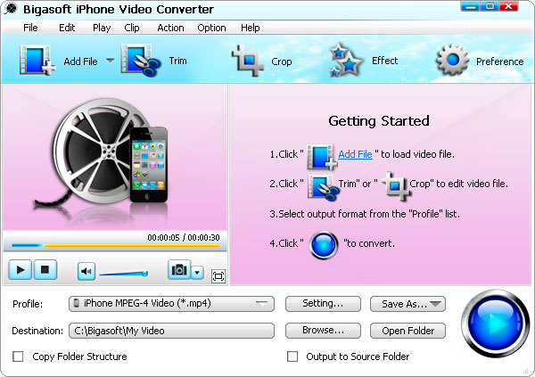 Bigasoft iPhone Video Converter Screen shot