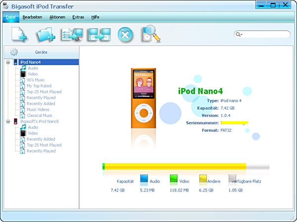 Screenshot von Bigasoft iPod Transfer
