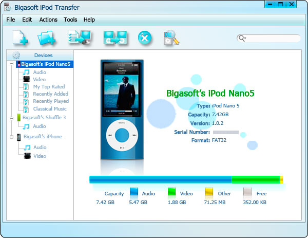 Screenshot of Bigasoft iPod Transfer