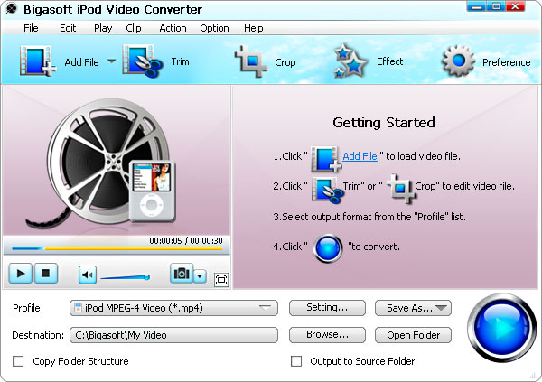 Click to view Bigasoft iPod Video Converter 1.6.0.3547 screenshot