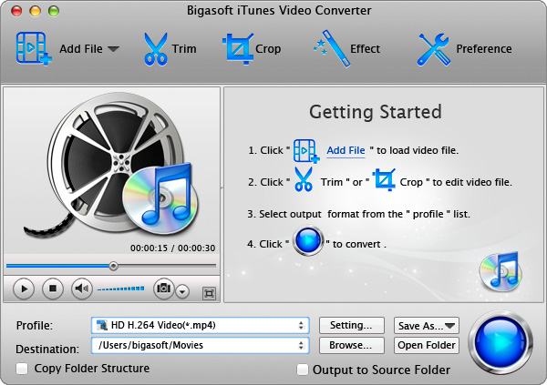 Screenshot of Bigasoft iTunes Video Converter for Mac