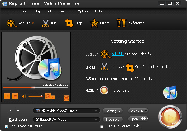 Screenshot of Bigasoft iTunes Video Converter